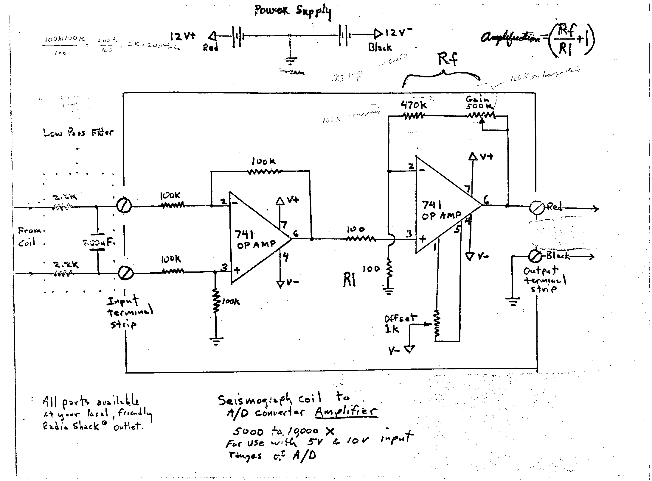 1 Lehman Seismograph Murmurs From The Earth Types Of Op Amp Circuits Times By A Simple Amplifier Circuit Which I Found On Internet Thanks To Dr Joseph Gerencher Moravian College For Putting His Design Web